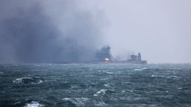 Burning oil tanker in the East China Sea. Photo: 9 January 2017