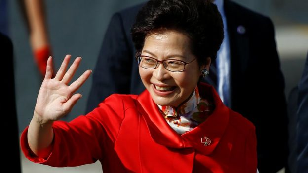 Hong Kong chief executive-elect Carrie Lam arrives for a flag raising ceremony in Hong Kong, 1 July 2017