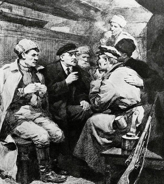 Lenin con soldados en vagón sellado
