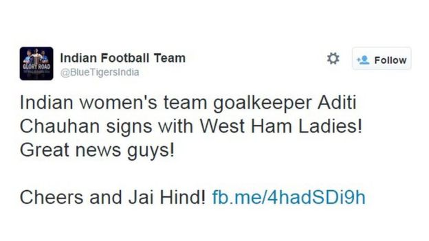 Indian women's team goalkeeper Aditi Chauhan signs with West Ham Ladies!
