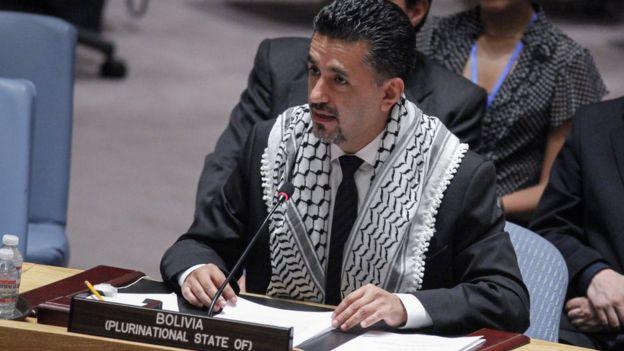 Embajador de Bolivia ante la ONU, Sacha Llorenti.