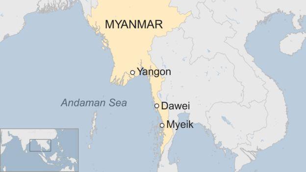 A map showing Myeik, Dawei, and Yangon in Myanmar
