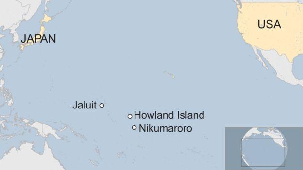 Jaluit, Howland Adası ve Nikumaroro Haritası