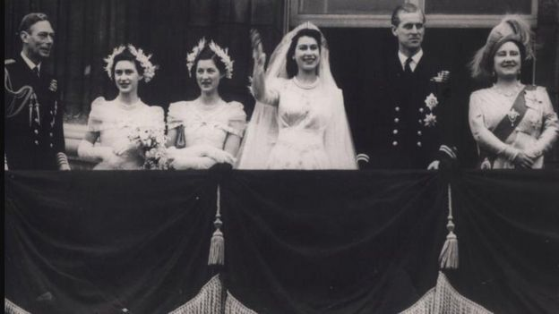 The Queen and Prince Philip with other Royals on the Buckingham Palace balcony on their wedding day.
