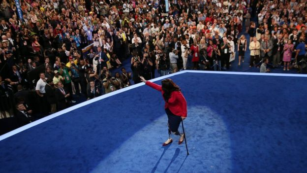Illinois nominee for Congress Tammy Duckworth leaves the stage