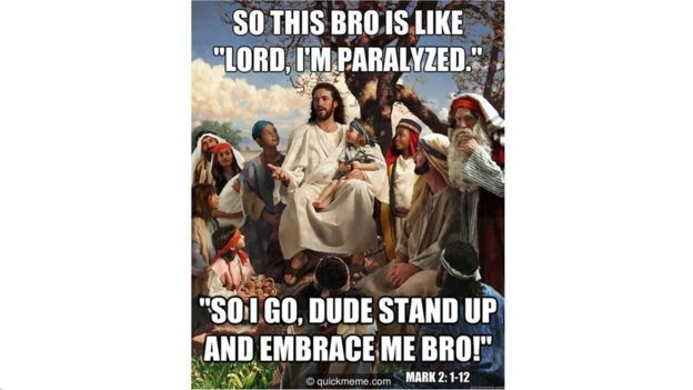 Un meme de Cristo hablando sobre el episodio de Lázaro en slang