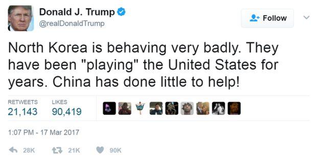 Tweet from @realdonaldtrump: