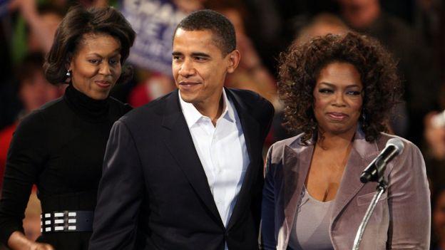 Michelle Obama, Barack Obama y Oprah Winfrey.