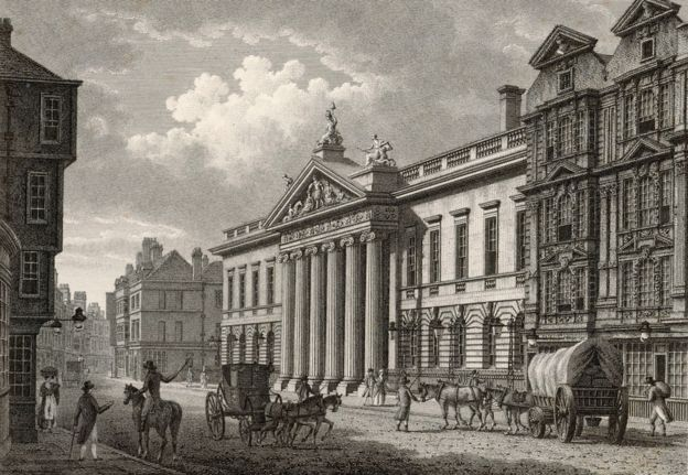 The headquarters of the powerful East India Company, Leadenhall Street, London pictured in 1800