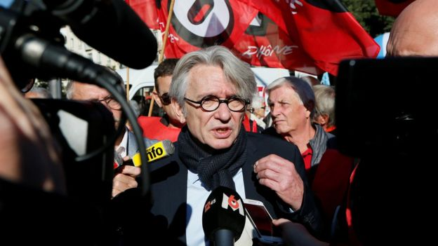 Jean-Claude Mailly, the leader of Force Ouvrière (FO), attends a demonstration with public sector workers against French labour reforms, Lyon, 10 October 2017