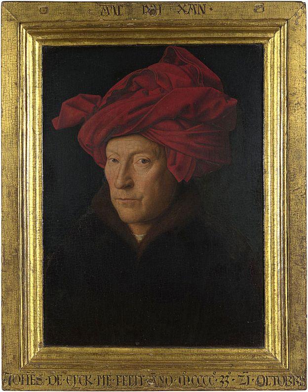 Retrato de un hombre (¿autorretrato?) de Jan van Eyck pintado en 1433, con óleo en roble (26 x 19 cm) © The National Gallery, London NG222