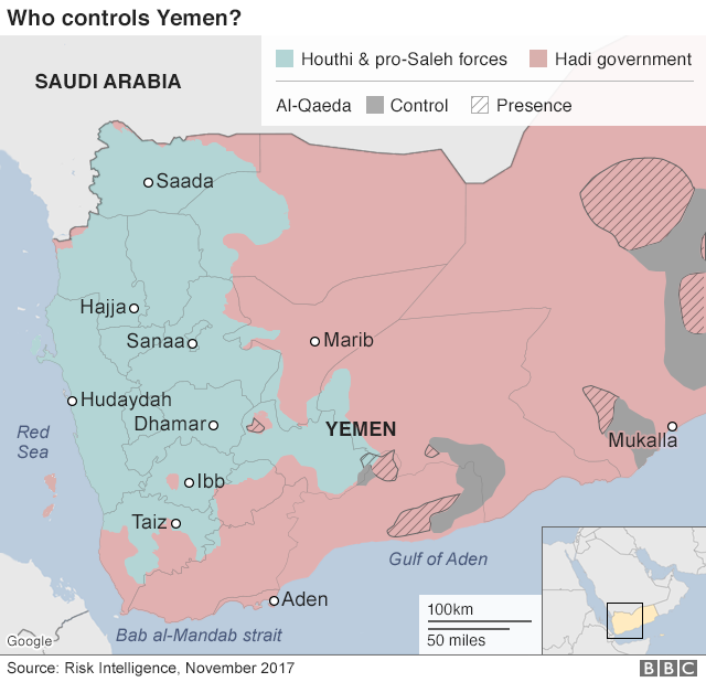 Map showing control of Yemen (13 November 2017)