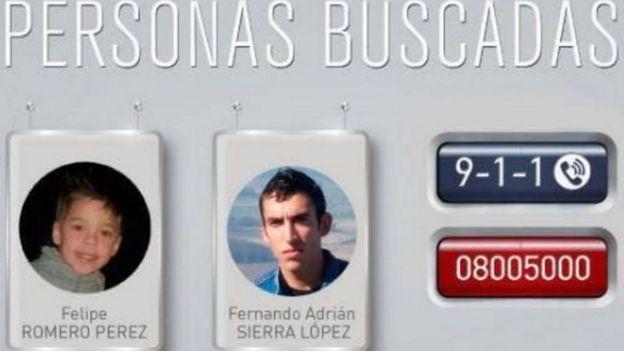 Aviso para encontrar a Felipe Romero y Fernando Sierra
