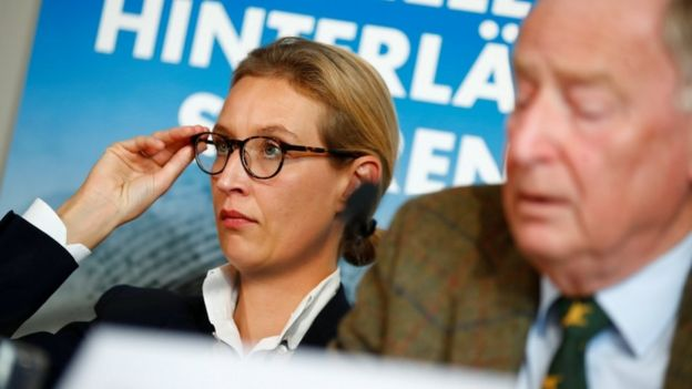 Co-lead of Afd party pictured at a press conference. Alice Weidel is in focus and holding her glasses.