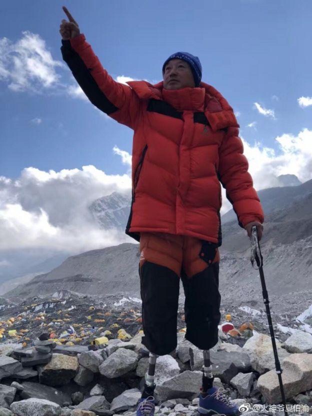攀登珠峰途中的夏伯渝
