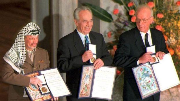 Peres alishinda tuzo ya amani ya Nobel 1994 kwa kuongoza mazungumzo ya amani na Palestina