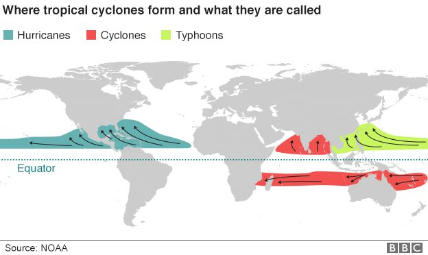 Map showing the world's seven tropical cyclone basins and what the storms that form there are called - 23 October 2015