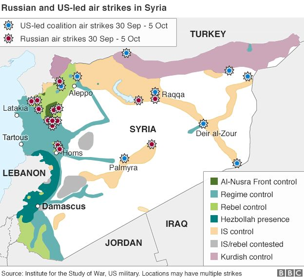 Syria Crisis Russias Strategy And Endgame BBC News - Us and russia map
