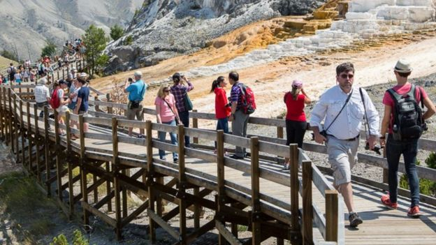 boardwalks at yellowstone