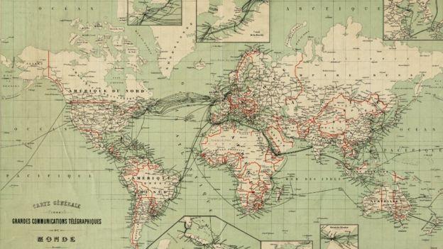 Mapa de las comunicaciones telegráficas en 1903. (Imagen: Norman B. Leventhal Map Center)