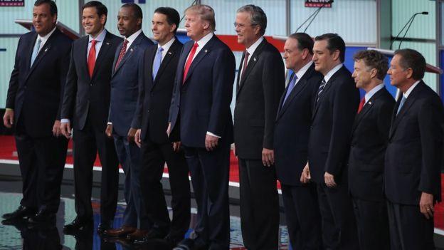 Diez de los principales candidatos republicanos participaron del primer debate presidencial en agosto de 2015.