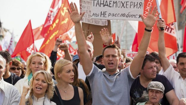 Russian opposition leader and blogger Alexei Navalny at march of millions protest through Moscow in May 6 2012