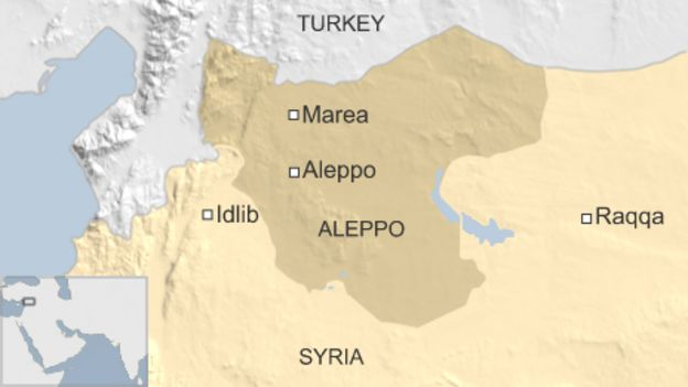 Map showing location of Marea, Syria