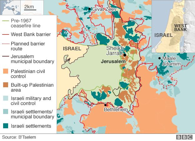 Israel Evicts Palestinians After East Jerusalem Legal Battle BBC - Jerusalem map world