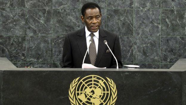 El presidente de Guinea Ecuatorial, Teodoro Obiang Nguema Mbasogo, hablando en la Asamblea General de Naciones Unidas