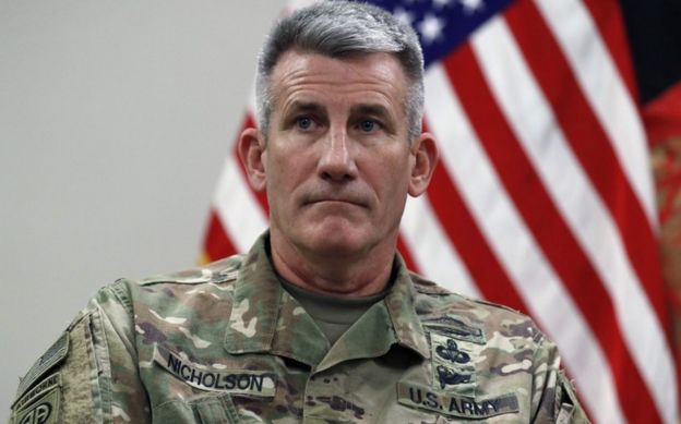 General John Nicholson pictured at Bagram Air Field in Afghanistan on October 23, 2017.