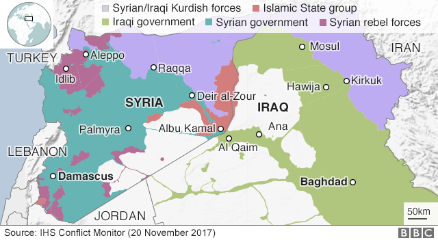 Map showing control of Iraq and Syria (20 November 2017)