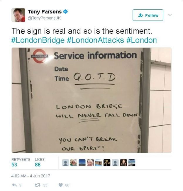 Photo of tube sign posted by Tony Parsons says 'London Bridge will never fall down'