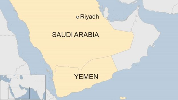 Map showing Saudi Arabia, Riyadh and Yemen