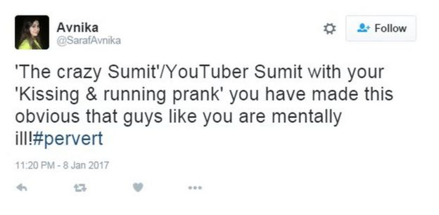 'The crazy Sumit'/YouTuber Sumit with your 'Kissing & running prank' you have made this obvious that guys like you are mentally ill!#pervert
