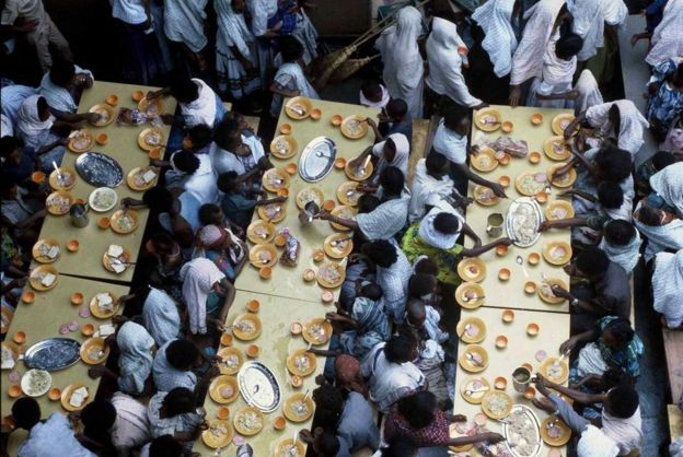 Ethiopian Jews eating on board Israeli navy ship