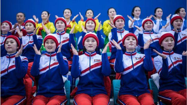 North Korean cheerleaders at the Japan-Korea hockey game.