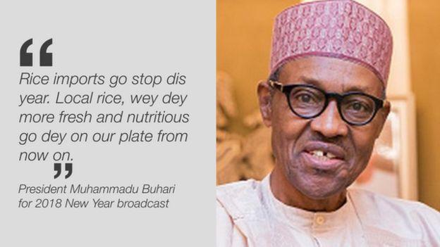 Nigeria President Muhammadu Buhari on rice import ban