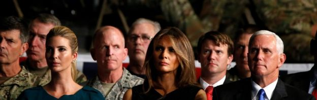 Senior adviser to and daughter of the President Ivanka Trump, first lady Melania Trump and Vice President Mike Pence (L-R) listen as U.S. President Donald Trump announces his strategy for the war in Afghanistan during an address to the nation from Fort Myer, Virginia, U.S., August 21, 2017