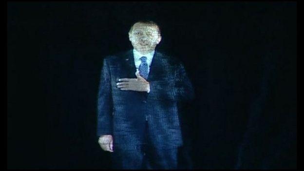 Erdogan en forma de holograma