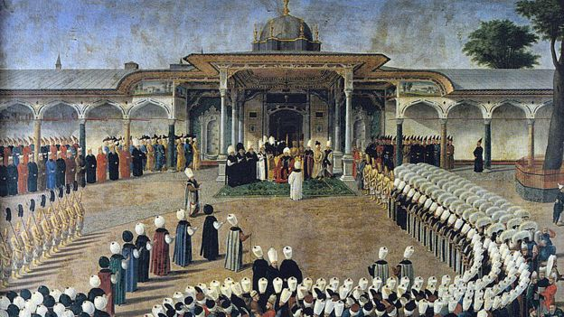 Sultan Selim III in an audience in front of the Gate of Happiness.  The courtiers are gathered in a strict protocol.  Topkapı Sarayı Müzesi, Istanbul