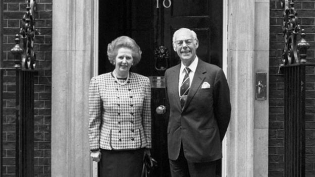 Margaret and Denis Thatcher outside No 10 Downing St