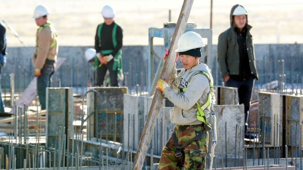 North Korean workers on a building site in the Mongolian capital Ulaanbaatar.