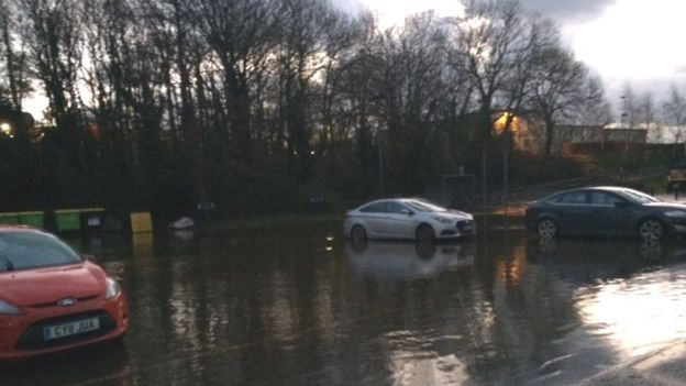 Flooded the car park of Ynys Môn (Anglesey) council in Llangefni