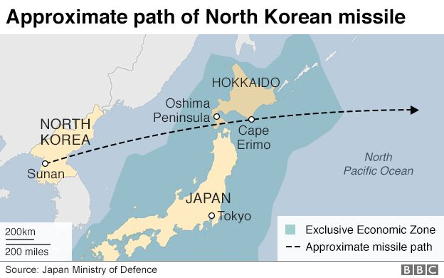 Pyongyang has conducted a flurry of missile tests recently but this is the  first time it has fired what is thought to be a ballistic weapon over Japan.