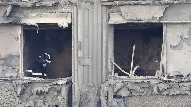 Image Copyright EPA Firefighter At Grenfell Tower