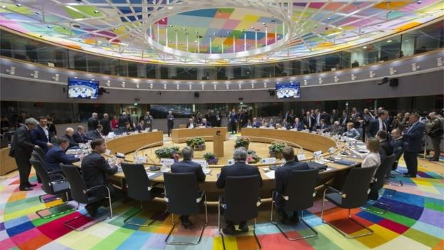 European Union leaders meet in Brussels to approve guidelines on negotiating Brexit, 29 April 2017