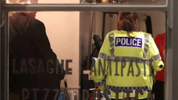 Police in restaurant closed as part of their investigation