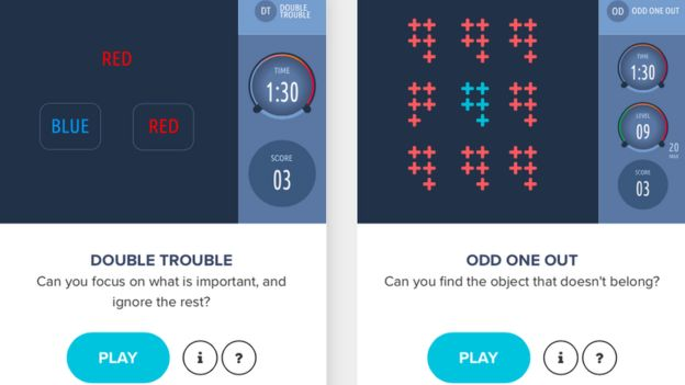 Two brain games which are part of the sleep and cognition study