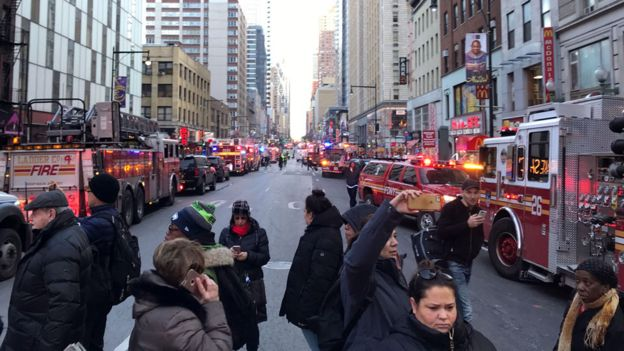 Police and fire crews block off the streets near the New York Port Authority in New York City