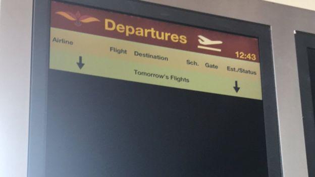 Mattala Rajapaksa Airport departures board